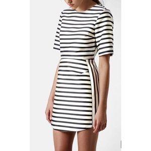 Topshop NWOT black and cream stripe mini dress